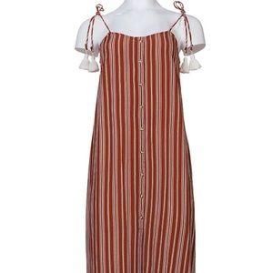 🆕 Anthropologie Brown Stripe Tassel Maxi Dress